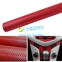Wholesale New Arrival quot x39 quot D Diagonal Carbon Fiber Vinyl Sheet Car Sticker Twill Weave Red