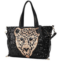 Wholesale Fashion Joker Lady Women PU Leather Shoulder handbag Tote Hobo Purse Leopard head Sequins Backpack Style