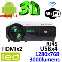 Wholesale Android Wifi D Home Theater Projector LED Beamer LCD Display P i With HDMI USB VGA Lms x768