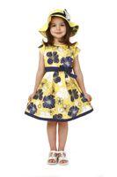 al por mayor vestido de la flor amarilla-Nuevo vestido de las muchachas / vestido de adolescente / amarillo con flores levitas / 5 tamaños para cerca de 5-14 años los niños