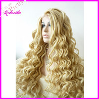Wholesale 2013 New celebrity hairstyle korean heat resistant fiber synthetic lace front wig blonde color loose wave cheap wigs