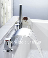 Ceramic bath basin tap sets - new brand Bath Set waterfall basin mixer tap polished chrome faucet deck mounted Y