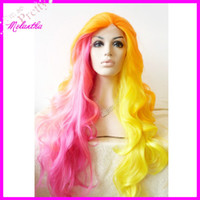 Wholesale New arrive colorful natural wave cheap heat resistant synthetic lace front wig wigs for white women