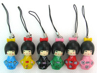 Wholesale 60 New Japanese Oriental Kokeshi Doll Charms Squishies Cell Phone Straps