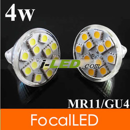 50pcs lot MR11   GU4 12ledS 5050SMD LED light bulb Pure Warm White Spot Light Bulb Lamp Cover 12v