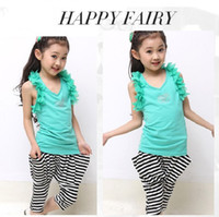 Wholesale New Summer girls solid sleeveless T shirt harem vest striped pants for cm kids children clothing set
