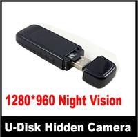 Cheap Night Vision Camera U-Disk Recorder 1280x960 1080P HD USB flash disk spy mini pinhole hidden camera 1pcs