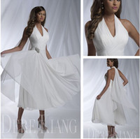 Wholesale 2013 new arrival Hot Sale Sexy Bridal Dresses Halter Sleeveless A line Pleat Tea Length Wedding Dresses Womens Chiffon Beach Wedding Gowns