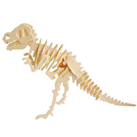 Wholesale Tyrannosaurus Rex D Jigsaw Woodcraft Kit Dinosaur Wooden Puzzle Desktop Decoration Kids Assembling Toys