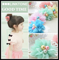 Wholesale New Hot Korean Style Children s Fashion Accessory Girl s Lovely Chiffon Flower Pearl Hair Rubber Bands Kid s Designer hair Jewelry Mix Order