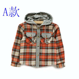 Wholesale Kids Clothes Long Sleeve T Shirts Children Hoodie Sweatshirts Fashion Casual Plaid Shirts Child Clothing Boys Hooded Shirt Cotton Shirts