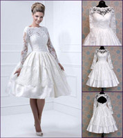 Wholesale Bateau A line Taffeta Lace Long Sleeves Backless Knee length Short Wedding Dress Summer Bridal