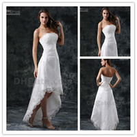 Wholesale Short Beach wedding dresses front short and long back wedding dress A Line High Low Bridal Strapless Beaded Lace Tulle Summer Dresses