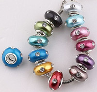 Round big element - 14MM Mix Color Rhinestone Crystal European Big Hole Beads Fit Charms Bracelets Findings