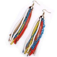Wholesale Bohemia beaded candy color women highlight EARRING Earrings Studs Fashion dangled luxurious earring