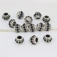 Wholesale Jet Rhinestone Tibetan Silver Cylindrical European Spacer Large Hole Charm Beads Fit Jewelry Bracelets