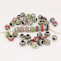 Wholesale Mixed Colors Rhinestone Tibetan Silver Cylindrical European Spacer Large Hole Charm Beads Fit Jewelry Bracelets