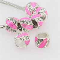 Wholesale Clear Rhinestone Pink Enamel Stripe Silver Alloy European Large Hole Beads To Make Charms Bracelets x12mm