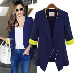 Wholesale Women s New Style Spliced Causal Elegant Silm Fashion Jacket Suit With Zipper White And Blue Blazers