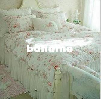 Vintage Red Rose Princess Bedding Set Floral Cotton Girls