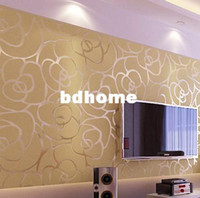 Wholesale Modern Flocking Wallpaper Unique Wall paper Covering Roll For Living room Bed room TV background Silver Gold Pink Black Colors