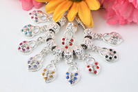 Wholesale SALE Plated Silver Mixed Rhinestone Crystal Heart European Charm Dangle Beads Fit Bracelet