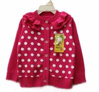 4T-5T Girl Spring / Autumn Fashion Polka Dot Casual Cardigan Wool Sweaters Princess Coat Children Cardigan Knitted Sweaters Girls Long Sleeve Cardigan Sweater Coat