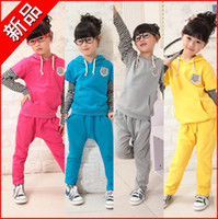 Cheap 2013 New Arrive Cotton Kids Clothing Suit Girl Sports Suit Stripe Pure Color Suits for Kids, 5 sets lot,EMS freeshipping