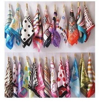 Wholesale scarves square ceremonial scarves printed scarves A variety of multi color mixed batch