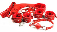 Wholesale BDSM Games in Sex Bondage Kit Ball Gags Collar Foot Cuff Hand Cuffs Eye Mask Body Restraint Rope Whip red Sex Toys Adult Products Female