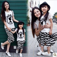Wholesale Family set clothes summer cotton short sleeved T shirt striped pants for mother daughter