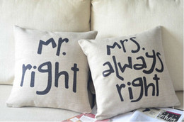 Shabby Chic Vintage Style Mr Right Cushion Cover Seat Cushion For Home Decor