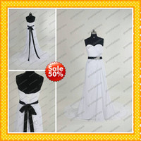 2013 Wholesale Beads Bow Sash Black and White Chiffon Column...