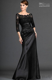 Wholesale Custom Made Off Shoulder Sleeve Black Lace Satin Mother Dress A Line Mother of the Bride Dress Evening Dresses