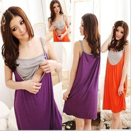 Wholesale 2014 Fashion Women Maternity Dresses Summer Pregnant Mother Clothes Comfortable Nursing Dress Cotton Purple Orange Free Size Casual
