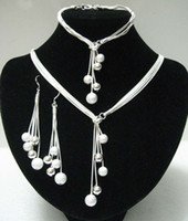 Wholesale Gorgeous Hot New arrive Crystal Silver Jewelry Set cute chain Pretty retro Earring Bracelet Necklace