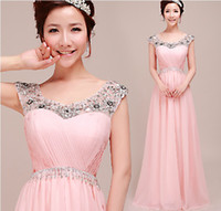 Wholesale Beautiful and colorful Zipper Off shoulder Beads Ruffle Sequin Ruffle chiffon A line Floor length Short Sleeve Prom Dresses