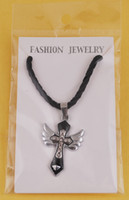 Wholesale Hot sell men christian cross alloy necklace religions cross wing inlay rhinestone religions SW33595K011