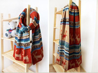 Wholesale Deer Patterns Wool Muffler Colorful Scarf Shawl Thicken Bib Scarves