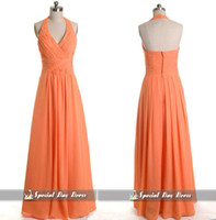 Wholesale Special Days Dresses Orange V neck halter Empire Full length Chiffon Fabric Open back Long Bridesmaid dress Sexy Prom gowns Evening dress