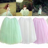 Wholesale Hot Free Size Women Skirts Elastic Waist Tea Length Tulle Skirt Floor Length Custom Made
