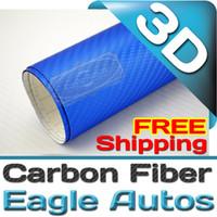 carbon fiber sheet - Deep blue D Carbon Fiber Wrap Vinyl Film Overlay Decal Sheet