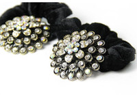 Wholesale Fashion Black Elastic Rubbers Bands lint Hair Rope With Crystal Flower For Women CL T6