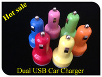 Cheap NEW ARRIVAL 100PCS LOT Colorful Dual USB 2 Ports Car Charger Cigarette 2.1A Auto Power Adapter for iphone 4 4S 5 ipad Samsung