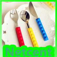 Metal ECO Friendly silicon + stainless steel New Arrived 3 In 1 Building Block Style Tableware Silicone Knife + Fork + Spoon, Gift for Kids