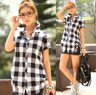 Womens Black And White Checked Blouse 112