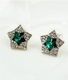 Star Ear Stud Fashion Korean Full Rhinestone Golden Green crystal Star Ear Stud Earrings