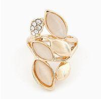 Wholesale Stone Jewellery China - Womens Diamond Long Rings Jewellery Leaves Shape Cat Stone Plated Gold Ring 12pcs Lot The New