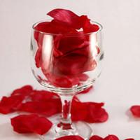 Wholesale 1500pcs basket of artificial flower petals Dark Red Silk Rose petals for wedding decoration throwing flowers bags bag