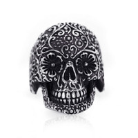 Wholesale Guarantee100 AAA Hot sales brand new L Stainless Steel Vintage polishing Silver Handmade skull bless ring R